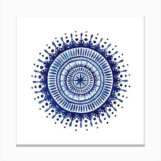 Indigo Mandala Square Canvas Print