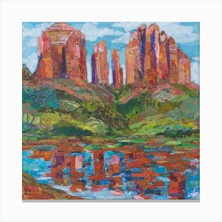 Red Rock Nature Crossing Arizona Square Canvas Print