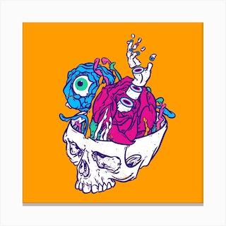 New Life Of Yorick's Skull Square Canvas Print