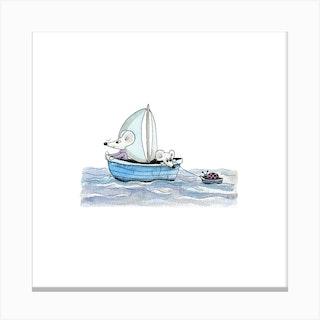 Sailing Mice Canvas Print