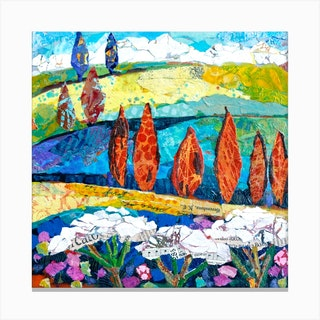 Landscape Memories Of Tuscany Square Canvas Print
