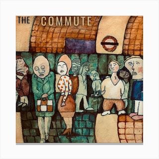 The Commute Underground Gathering Square Canvas Print