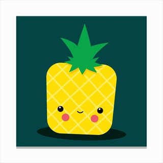 Stay Well Kawaii Pineapple Square Canvas Print
