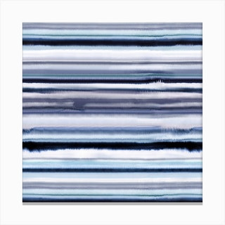 Degrade Stripes Watercolor Navy Square Canvas Print