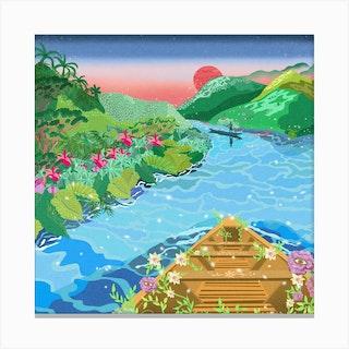 A Trip Down The Amazon River Square Canvas Print