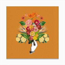 Botanical Yellow Square Canvas Print
