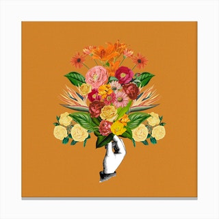 Botanical Yellow Square Canvas Print