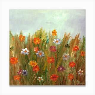 Flowers At Sunset Square Canvas Print