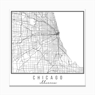 Chicago Illinois Street Map Canvas Print