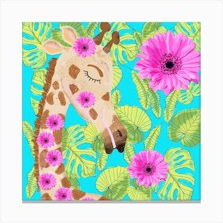Sweet Giraffe Square Canvas Print