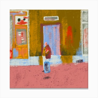 Sidewalk Square Canvas Print