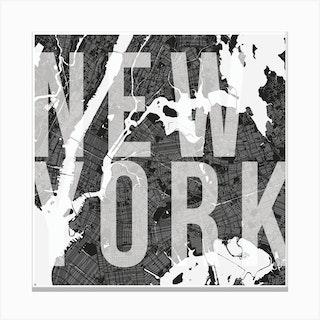 New York Mono Street Map Text Overlay Square Canvas Print