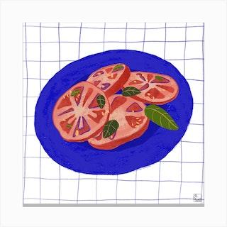 Healthy Tomato Salad Square Canvas Print