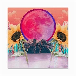 Desert Sunflower Moon Collage Square Canvas Print