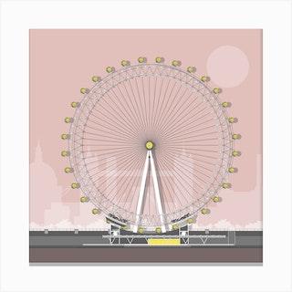 London Eye Pink Canvas Print