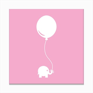 Elephant with Balloon (Pink) - Square Canvas Print