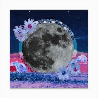 Beach Moon Daisy Collage Square Canvas Print
