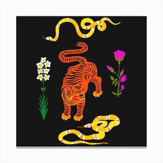 Tiger And Snakes Flowers Square Canvas Print