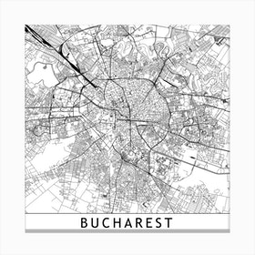 Bucharest Map Canvas Print
