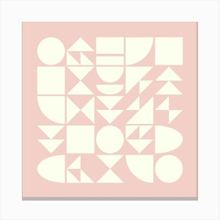 Geometry In Blush Square Canvas Print