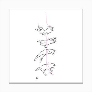 Kitty Tumble Square Canvas Print