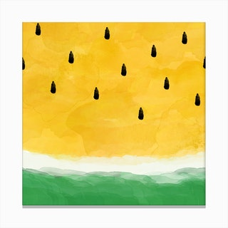 Yellow Watermelon Square Canvas Print