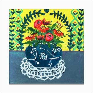 Blue White Japanese Cherry Blossom Ginger Jar Square Canvas Print