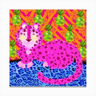 Pink Leopard Square Canvas Print