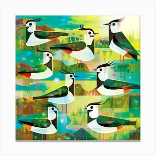 Lapwings Square Canvas Print
