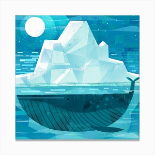 Iceberg Whale Square Canvas Print