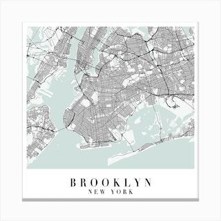 Brooklyn New York Street Map Minimal Color Square Canvas Print