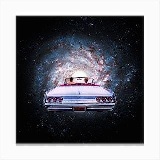 Space Car Square Canvas Print