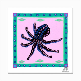 Black Octopus Square Canvas Print