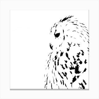 Snowy Owl White Series Square Canvas Print