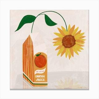 Orange Juice Square Canvas Print