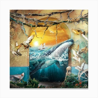 Whale Square Canvas Print
