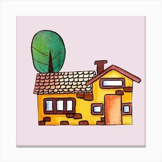 Golden House Square Canvas Print