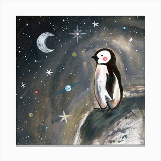 Penguin And Stars Square Canvas Print