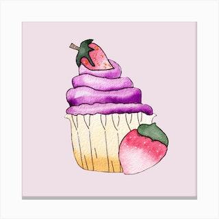Purple Cupcake And Strawberry Square Canvas Print