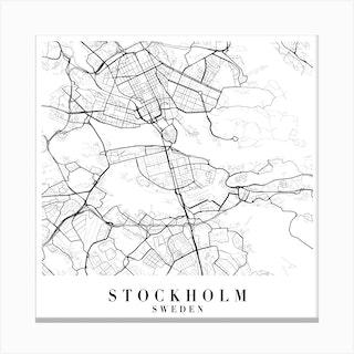 Stockholm Sweden Street Map Minimal Square Canvas Print