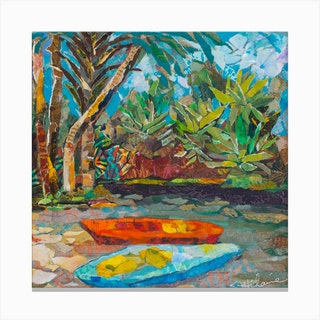 Colorful Nature On Canoa Up The River Square Canvas Print