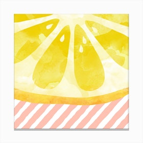 Lemon Abstract Square Canvas Print