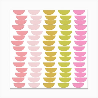 Pink And Lime Bowls Square Canvas Print