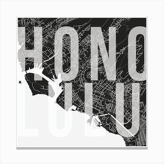Honolulu Mono Street Map Text Overlay Square Canvas Print