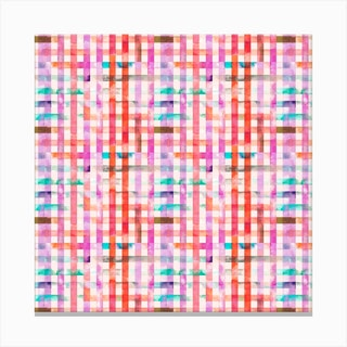Gingham Vichy Pink Square Canvas Print