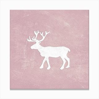 Reindeer Chalkboard Rose Square Canvas Print