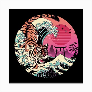 Rad Tiger Wave Square Canvas Print