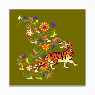Tiger Tapestry Square Canvas Print