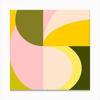 Shapes In Citrus Square Canvas Print