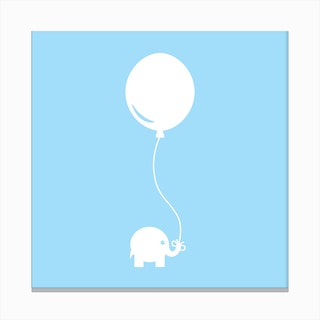 Elephant with Balloon (Blue) - Square Canvas Print